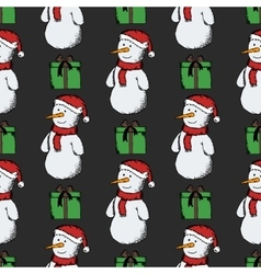 Seamless pattern of snowmen vector image