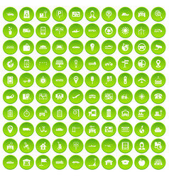 100 navigation icons set green circle vector