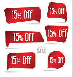 15 percent off red sticker collection vector image