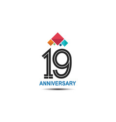 19 anniversary logotype with colorful crown vector
