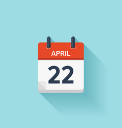 April 22 flat daily calendar icon Date vector image