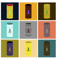 Assembly of flat icons barrel of oil vector