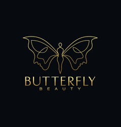 beauty butterfly face logo design vector image