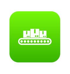Belt conveyor with load icon digital green vector