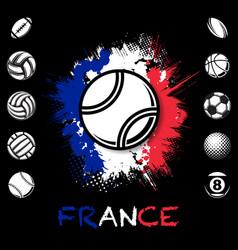 black sport balls france background vector image