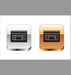 Black vhs video cassette tape icon isolated on vector
