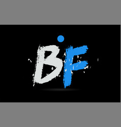 Blue white alphabet letter combination bf b f vector