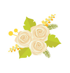 Bouquet white roses icon vector