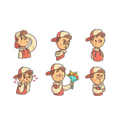 Boy showing different emotions set male cartoon vector