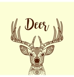Brown horned deer head with ornament vector