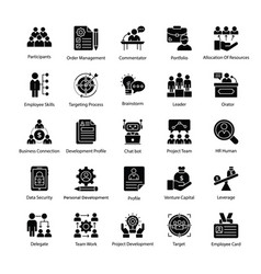 Business management glyph icons pack vector