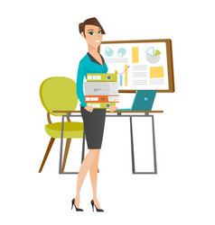 Business woman holding pile folders vector