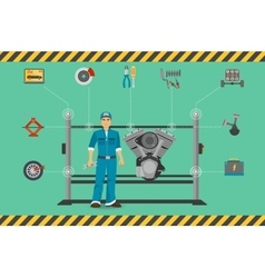 Car mechanic repair service center concept with vector image