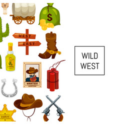cartoon wild west elements background with vector image