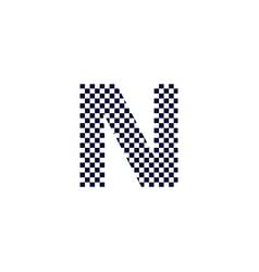 checker pattern logo letter n vector image