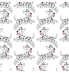 Cheerful puppy dalmatian breed seamless pattern vector