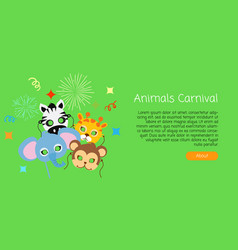 Childish animal masks elephant zebra monkey vector