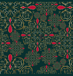 christmas mandala flower seamless pattern vector image