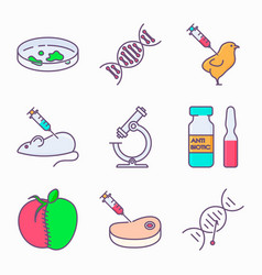 collection genetic modification icons gmo vector image