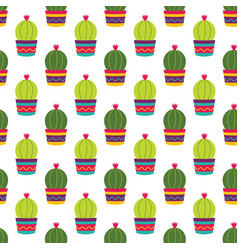 Colorful cacti flowers pattern vector