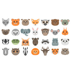 Cute cartoon animals heads set vector