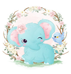 Cute watercolor baby elephant vector