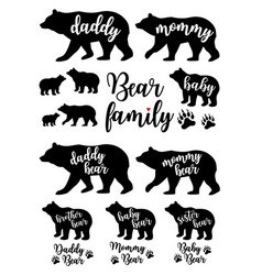 Daddy bear mommy bear babear set vector