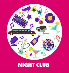 dancing party night club disco ball and limousine vector image