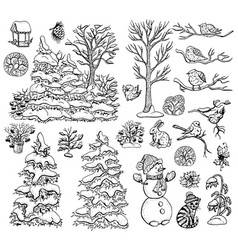 design set with nature elements on white vector image