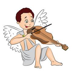 fairy boy playing violin vector image