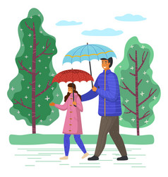 Father and daughter spend time together on a rainy vector