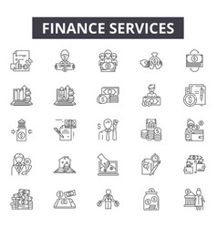 finance services line icons for web and mobile vector image