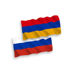 Flags armenia and russia on a white background vector