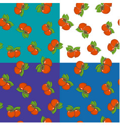 Four seamless pattern with persimmon vector