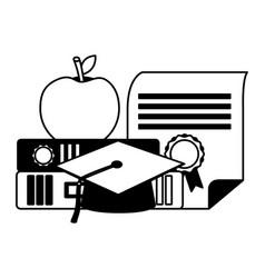 graduation hat certificate apple on books vector image