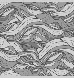 Gray hand drawn wave seamless pattern vector
