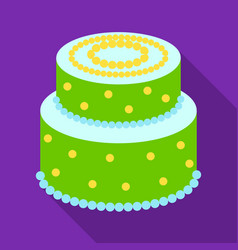green cake with yellow dots icon in flate style vector image