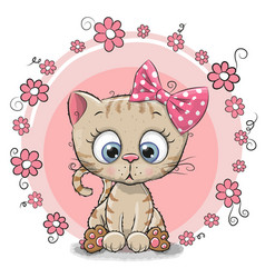 Greeting card kitten with flowers vector