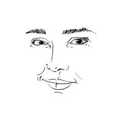 hand-drawn monochrome portrait of white-skin vector image