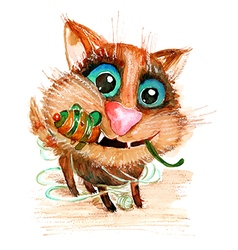 Hand drawn watercolor funny cat with toy mouse vector image