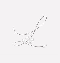 Hand lettering floral l monogram and logo vector