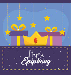 happy epiphany with crown and prsents with stars vector image