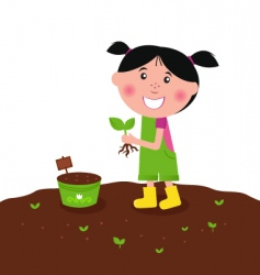 happy kid is planting plant vector image
