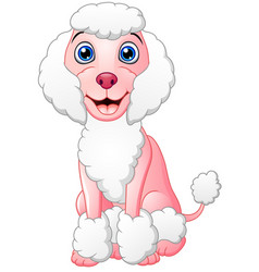 happy poodle cartoon sitting vector image