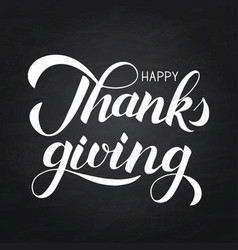 happy thanksgiving hand written with brush on vector image