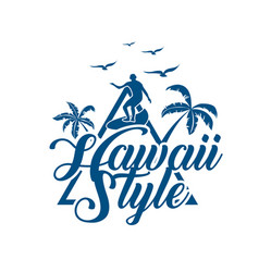 hawaii style surfing triangle background im vector image