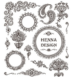 Henna floral elements based on traditional Asian vector