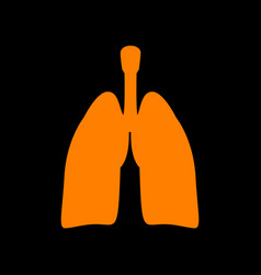 human organs lungs sign orange icon on black vector image