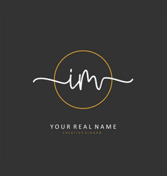 I m im initial letter handwriting and signature vector