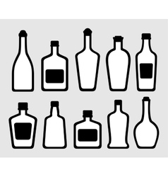 isolated alcohol bottles set vector image